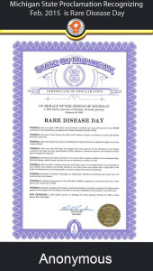 Michigan 2015 rare disease awareness proclamation ipain