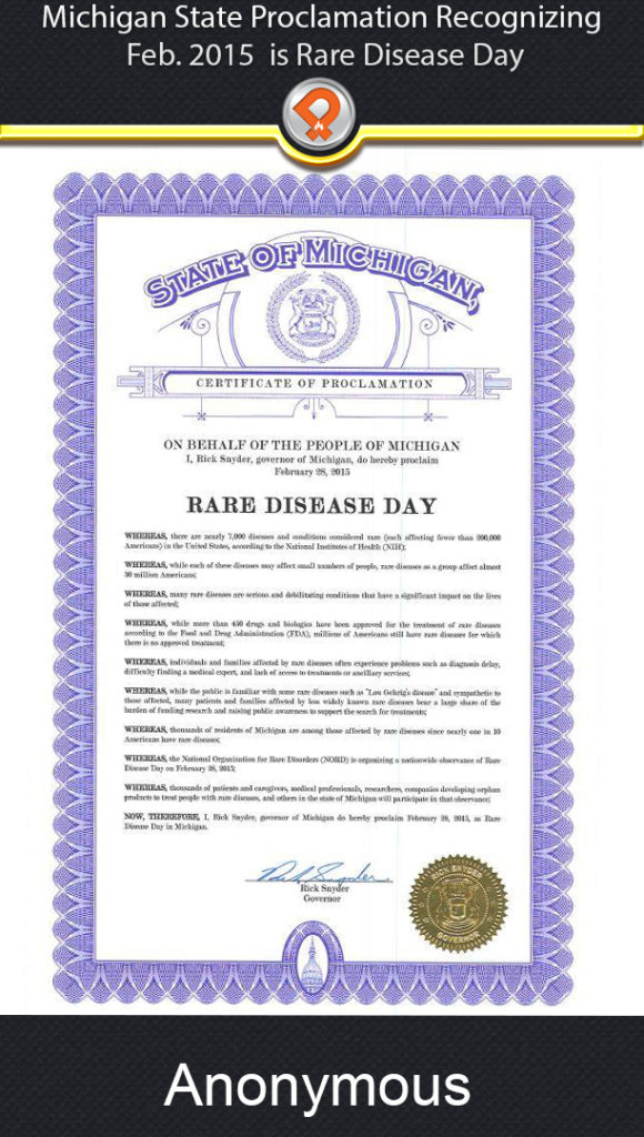 Michigan 2015 rare disease awareness proclamation ipain