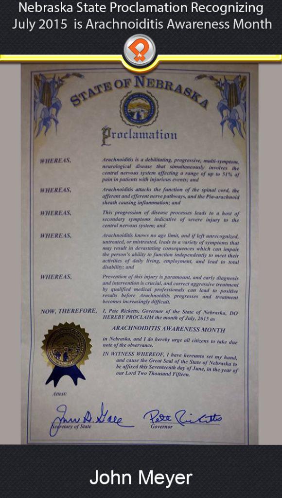 NE arachnoiditis state proclamation ipain