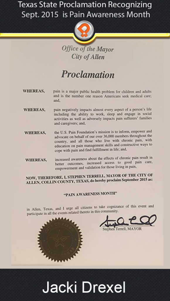 tx chronic pain proclamation 2015 ipain